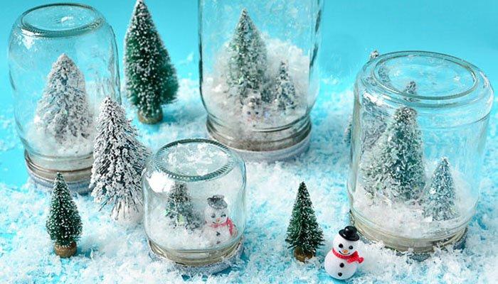 Manualidades de Navidad - botes con nieve