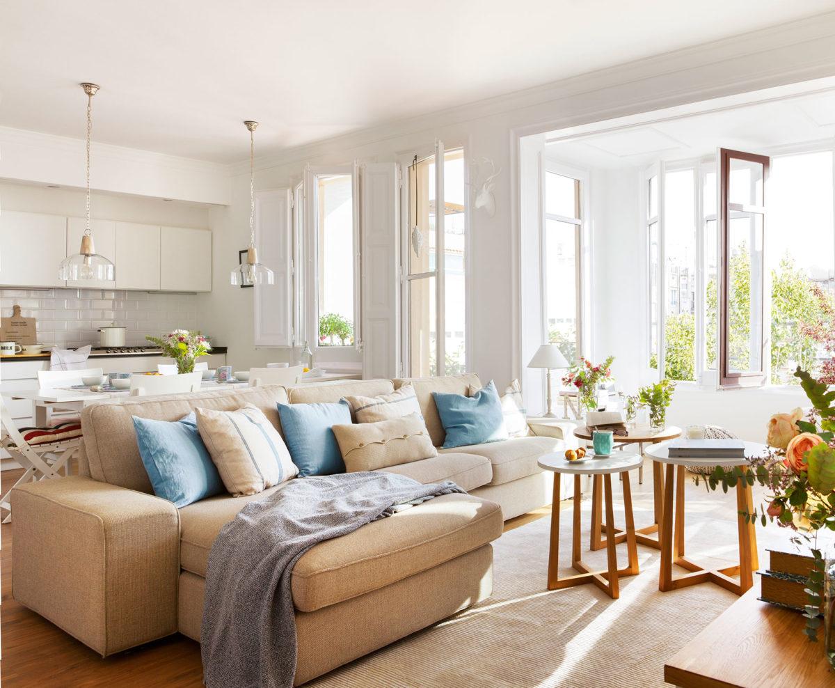decoración cálida - sofá