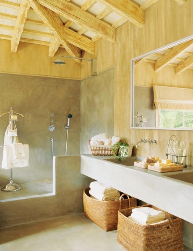 Baños rústicos - materiales