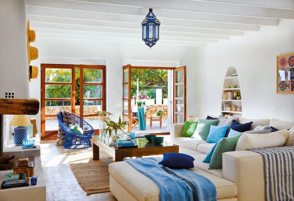 Casa de playa en tonos azules