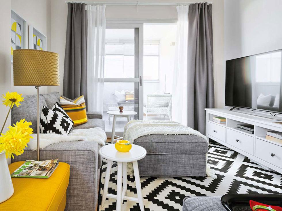 Salones en gris y amarillo