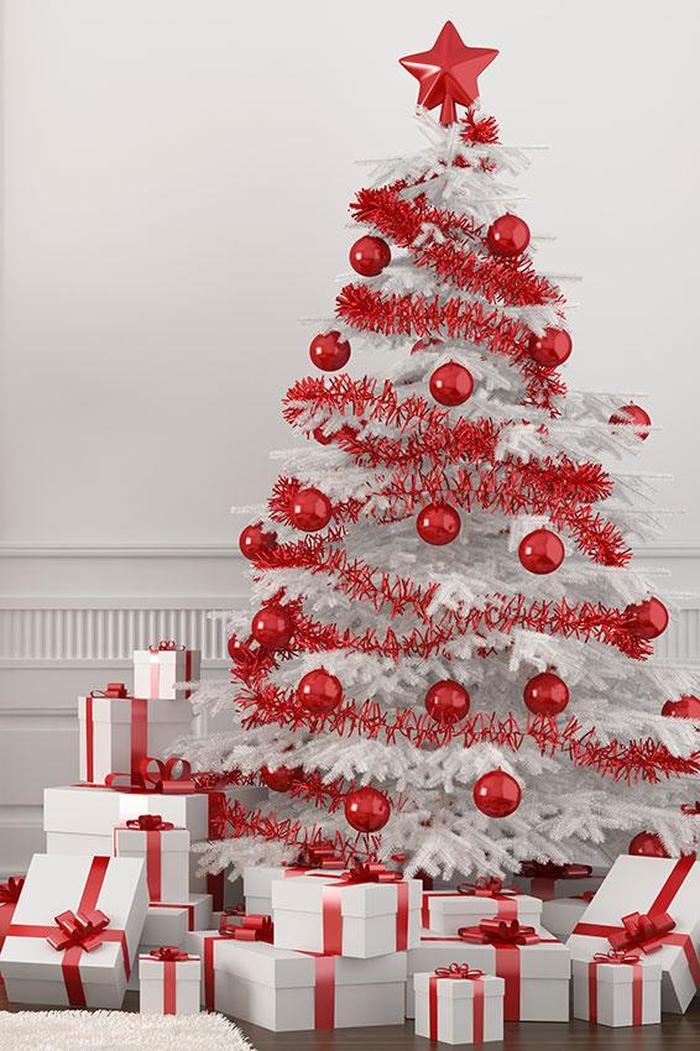 árbol de Navidad - blanco y rojo