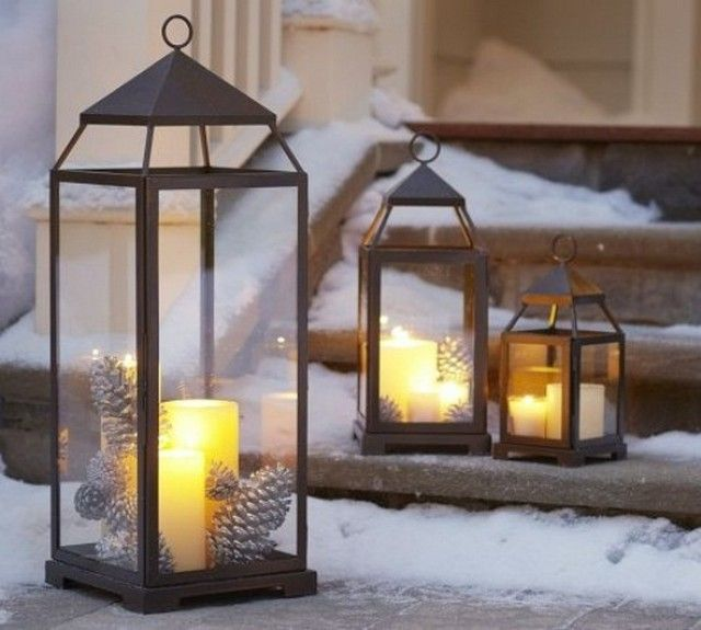 Arreglos navideños faroles con velas