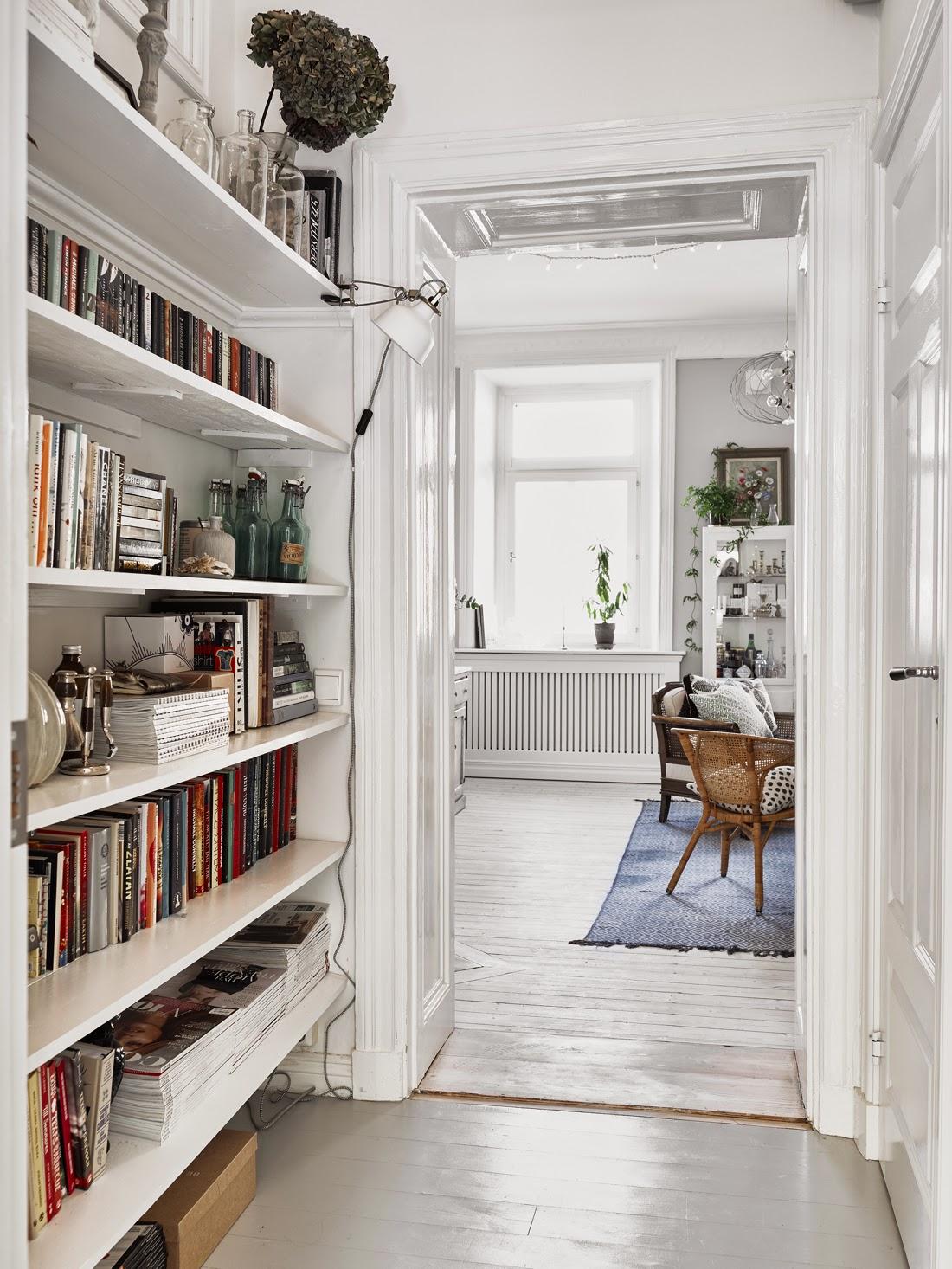 Decoración de pasillos con librerias