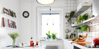 cocinas pequeñas con mesas blancas