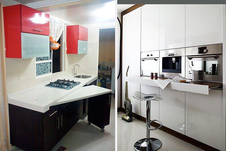 cocinas pequeñas - mesas integradas