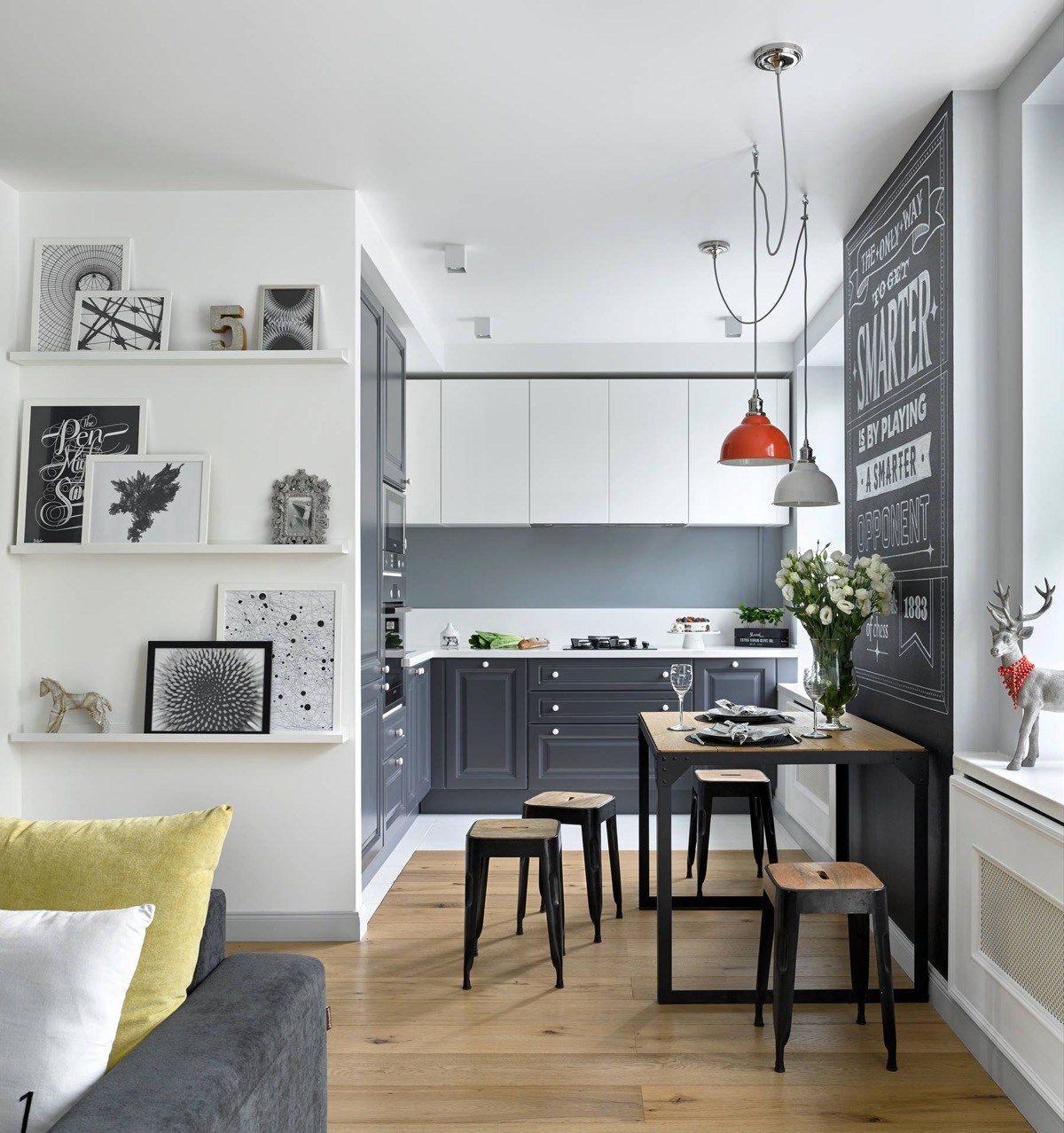 cocinas pequeñas con zonas de transición