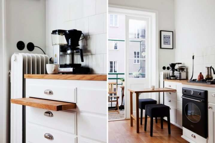 cocinas pequeñas - barras integradas en muebles
